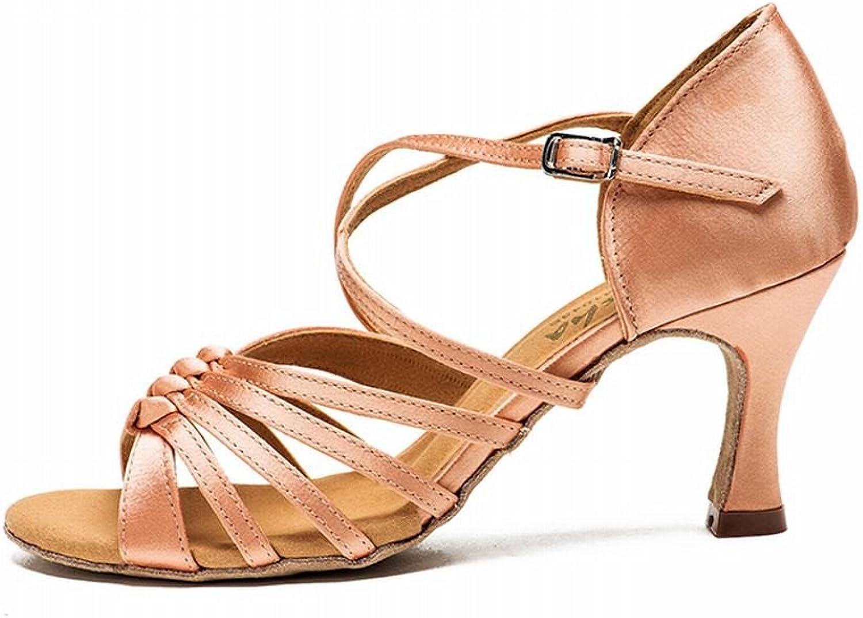 BYLE Leder Sandalen Riemchen Samba Modern Jazz Dance Schuhe Latin Dance Schuhe Weiblichen Erwachsenen mit Satin Schuhe