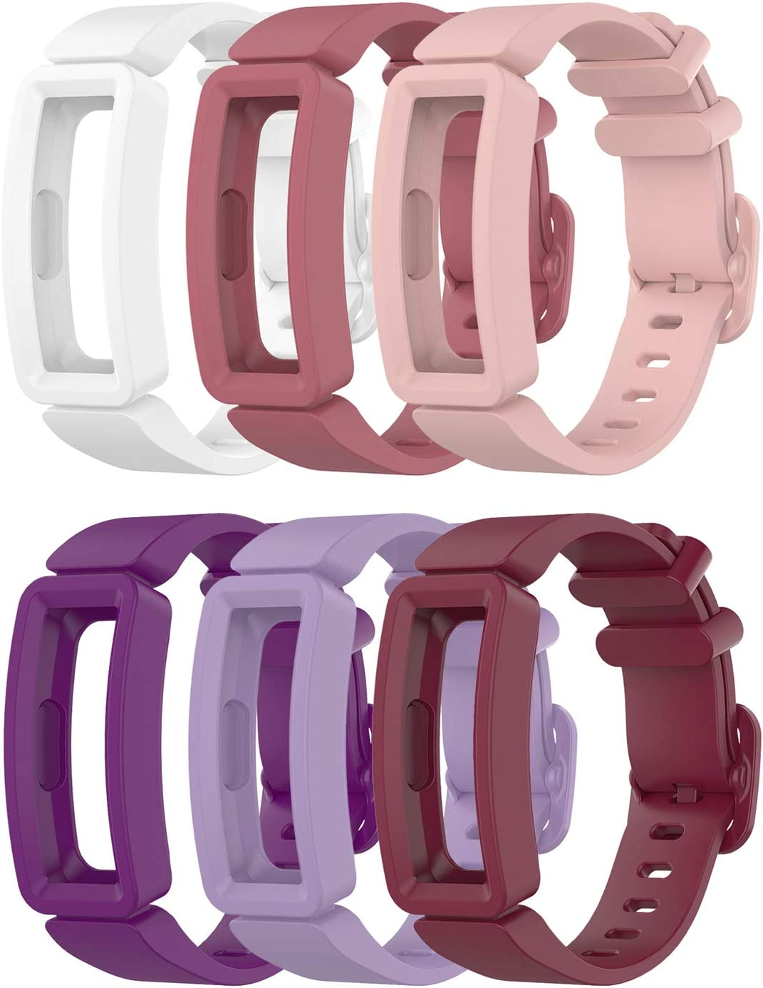 EEweca 6-Pack Bands Compatible with Fitbit Ace 2 Replacement Strap for Kids (White, Purple, Lilac, Sangria, Rose Pink, Soft Pink)