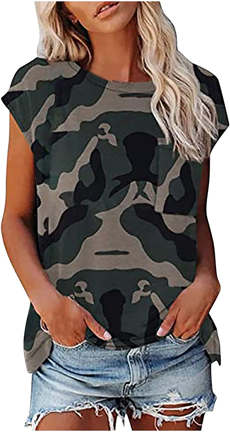 TARIENDY Patchwork Tshirt for Women Fashion Short Sleeve Tees Camouflage Leopard Print Tops with Pocket
