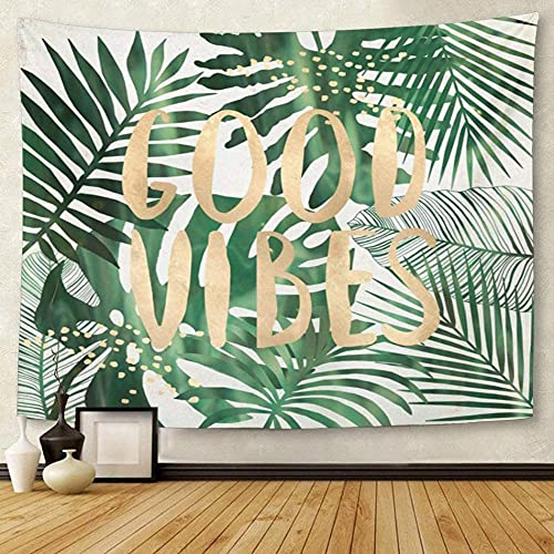 Yhjdcc Tapestry Green Typo Good Vibes Tropical Leaves Wall Collage Home Decor Wall Art Hanging for Living Room Bedroom Dorm 60¡Á80inch