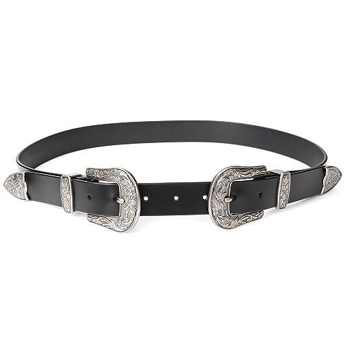 cdd601a91 Women Leather Belts Ladies Vintage Western Design Black Waist Belt for  Pants Jeans Dresses