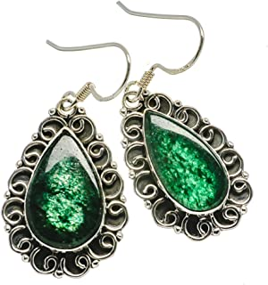 "Nephrite Jade Earrings 1 3/4"" (925 Sterling Silver) - Handmade Boho Vintage Jewelry EARR386244"