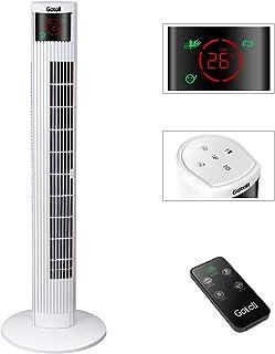 Gotoll Ventilador de Torre Silencioso Ventilador de Suelo con Control Remoto, Altura 95,5cm, Panel Táctil, Temporizador de 12H, Oscilación de 70°, 3 Velocidades, 3 Modo de Viento, 45W, Blanco
