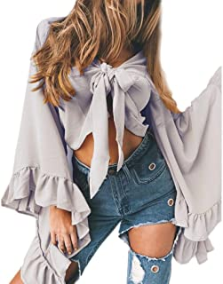 Women Sexy V Neck Long Bell Sleeve Bow Tie Front Crop Top Cardigan T-Shirt Shawl Shrug