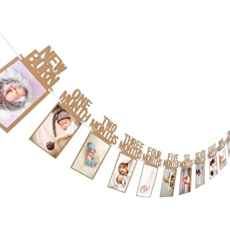 Party Propz Thickened Kraft Card Paper Birthday Photo Prop Banner (1-12 Months, Multi-Color)