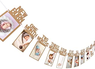 Party Propz 1-12 Month Photo Banner for 1st birthday decorations - 1st birthday photo banner (Brown)