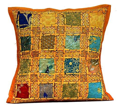 Sophia Art an Broidery Patchwork Housse de Coussin Traditionnelle à Paillettes Jaune foncé
