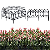 Dekorativer Gartenzaun, Im Freien schwarz Metall Beschichtete Gartenzaunplatte Tierbarriere, Faltkante Dekorativer Zaun - 60 cm X 33 cm X 5 St¨¹ck (Plastik)