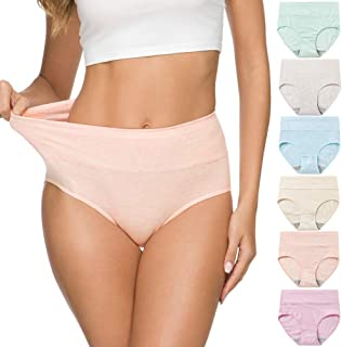 Wealurre Women's Comfort Cotton High Waist Underwear Breathable Soft Tummy Control Bikini Panties Plus Size
