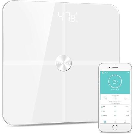 体重計 高精度 スマホでデータ管理 ITO技術 強化ガラス採用 多項指標 iPhone/Androidアプリで管理 日本語APP&説明書対応【ホワイト】