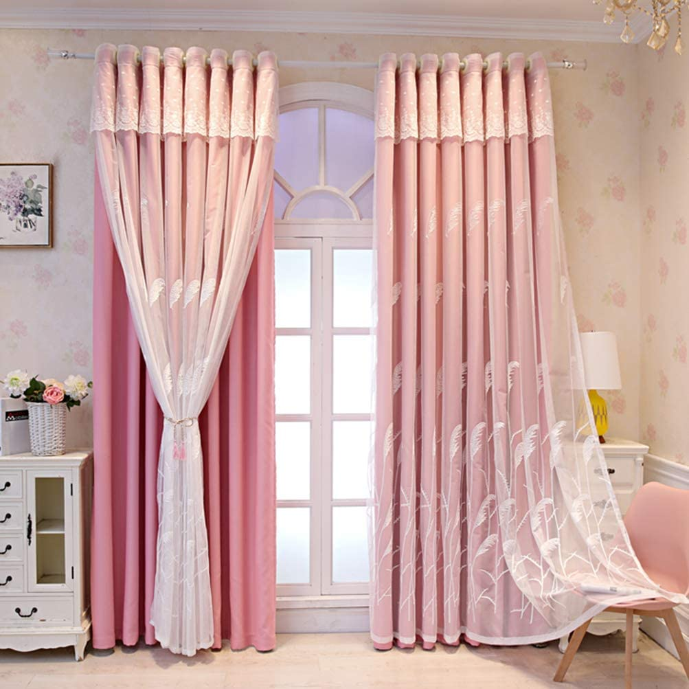 Blackout Curtain 2 Outlet SALE NEW before selling Layers Elegent Room Decor Embroidered White V