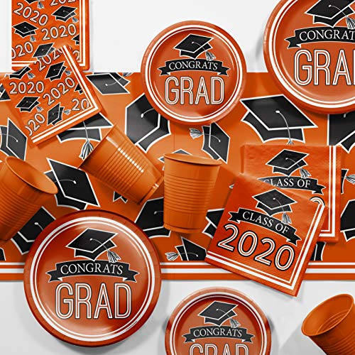 Graduation Class of 2020 School Spirit Orange Deluxe Party Supplies Kit, Serves 36