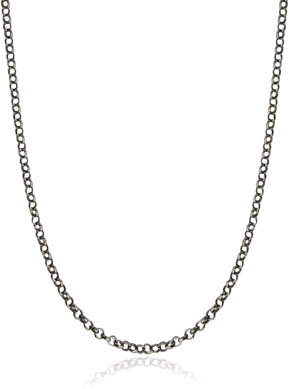 925 Solid Silver BALI POPCORN Chain Necklace-Italian Silver Necklace-Oxidized