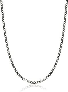 Oxidized Black Sterling Silver 1.2mm Rolo or Rollo Chain Necklace - 16, 18, 20, 24