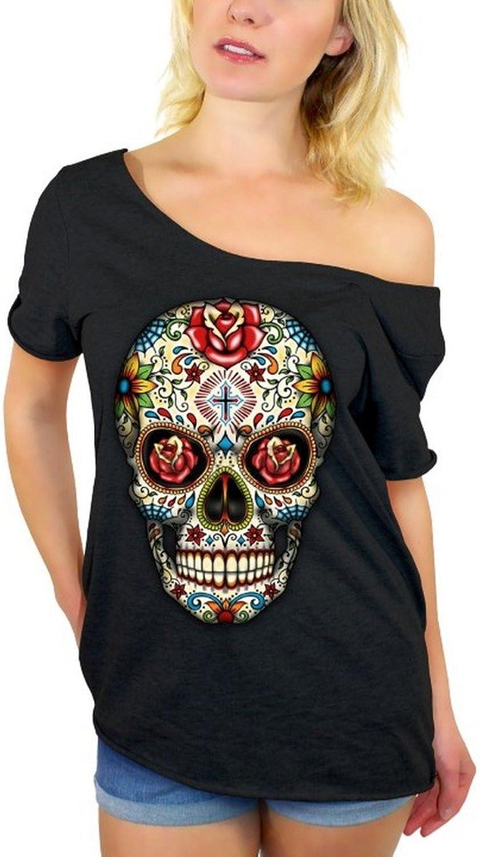 Awkwardstyles Sugar Skull pink Eyes Off Shoulder Tops TShirt + Bookmark