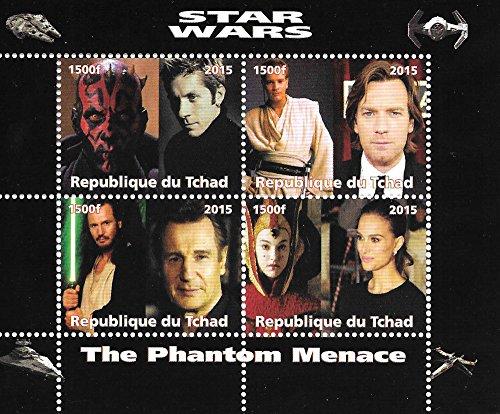 La Hoja de sello miniatura Amenaza Fantasma Star Wars de Colección con Ewan McGregor / MNH / 2015 / Chad