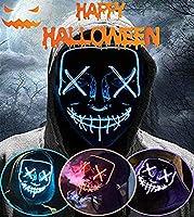 LED Purga Mascara Halloween Terror MáScaras,MáScara Disfraz Luminosa,para Hombre NiñOs Navidad Halloween Cosplay Grimace...