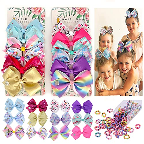 Big Hair Bows for Girls 5 inch with Toddler Hair Elastics Ties for Girls Hair Bows with Alligator Clips Unicorn Rainbow Grosgrain Ribbon Hair Barrettes Accessories Girls Bows for Toddler Teen Children