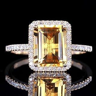 (US code 8) - Yuren Charming Fashion Women Jewellery 925 Sterling Silver Princess Cut Citrine Wedding Jewellery Ring Gift ...