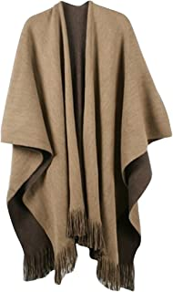 Women V Cut Reversible Tassel Knitted Large Poncho Capes Wrap Shawl