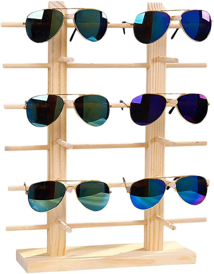 Licogel Safety and trust 1 year warranty Glasses Holder Stand Sunglasses Display Dec Wooden