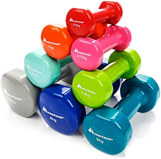 Meteor Essential Anti-Slip Vinyl Dumbbell, for Home Gym Fitness Weightlifting Toning, Available in 1/2/3/4/5/6kg Pairs
