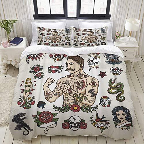 BROWCIN-Funda nórdica,Vintage Tattoo Flash Hipster Hombre y Varias imágenes Skull Heart Mermaid Snake Classic con 2 Fundas de Almohada.220 x 240 cm