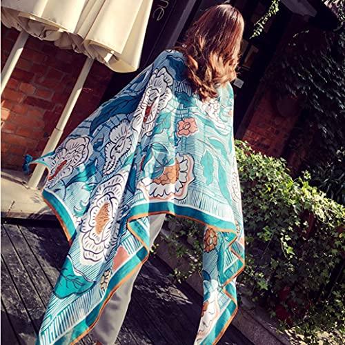 QC Chal de tul de moda, blusa casual de señora, mantón de protección solar de ciclismo, toalla de playa de gran tamaño, kimono de rebeca bohemia
