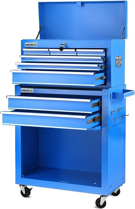 Carrello portautensili pro mobile in acciaio a 4 ruote 10 cassetti blu greencut HEC1075A