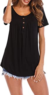 Fantastic Zone Women's Button Up Short Sleeve T-Shirt Casual Blouse Tunic Tops