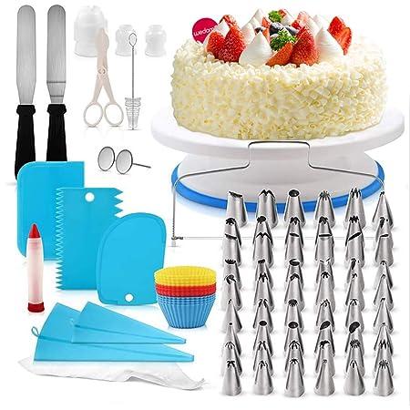 Rmine 106 Pcs Kit de pâtisserie Plateau Tournant de Gâteau DIY Ustensiles Kits Décoration pour Glaçage, Déco, Poches, Douilles ect (106PCS)