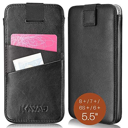 KAVAJ Lederhülle Miami geeignet für iPhone 8 Plus / 7 Plus / 6S Plus / 6 Plus Hülle Leder Case Schwarz Echtleder Tasche Etui Lederhülle mit Kartenfach Schutzhülle Dünn Echtledertasche