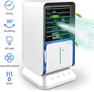 Portable Air Conditioner, Oscillating Personal Air Cooler Desk Fan Evaporative Air Circulator Mist Humidifier with Timer and 3-Speed for Home, Office-White