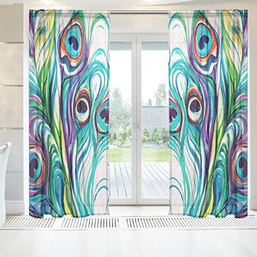baihuishop Elegant Voile Window Long Sheer Curtain 2 Panels Peacock Feathers Pattern for Door Window Room Decoration 55x84 Inch Blue Turquoise Purple Green Teal