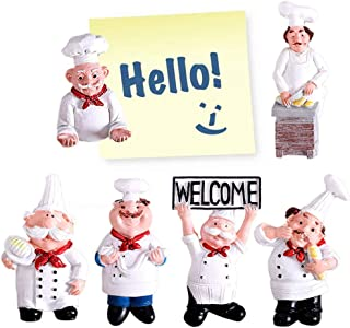 Best 6 Pack Chef Fridge Magnet Refrigerator Magnets, Italian French Chef Figurine Statue Home Kitchen Restaurant Decorations 3D Resin Baker Magnets Wall Decors Review