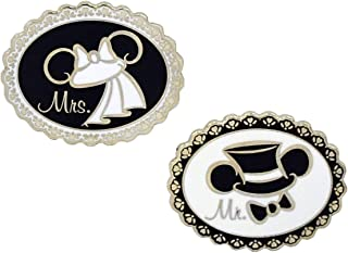 """Disney Parks Mickey & Minnie""""Mr. & Mrs"""" Wedding Trading Pin Set - (2 Pins Included)"""