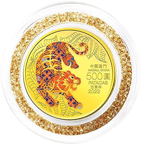Power Coin Tiger Tigre Lunar Year Moneda Oro 500 Patacas Macau 2022
