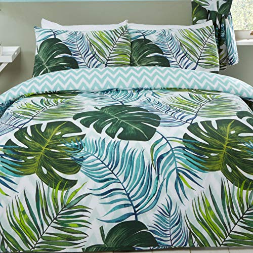 Price Right Home Tropical Palms Double Duvet Cover and Pillowcase Set