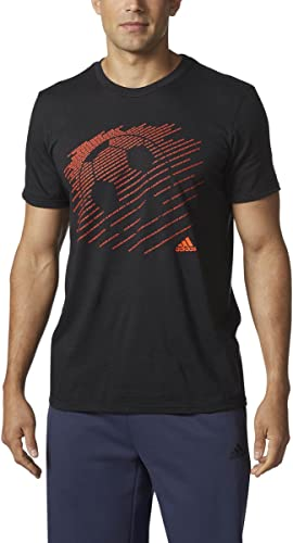Adidas Maillot de Football T-Shirt Graphic, Noir Rouge Solaire Boss, Grande