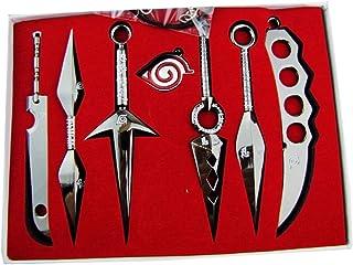 GideonH Naruto Ninja Weapon Metal Kunai Prop Konoha Leaf Village Shinobi 7 Pcs Toy Necklace