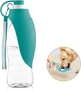 perpets Portable Dog Water Bottles,Reversible & Lightweight Travel Pet Water Dispenser with Expandable Silicone Flip-Up Leaf, Made of Food-Grade Silicone 20 OZ