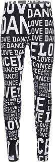 Yeeye Kids' Girls' Love Dance Print Stretchy Sports Leggings Activewear Gymnastics Yoga Tights