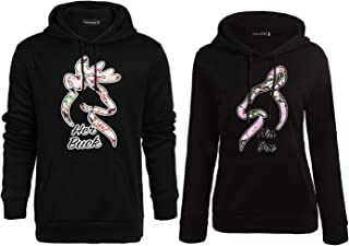 Bangerdei Matching Couple Buck and Doe His and Her Hooded Sweatshirt Pullover