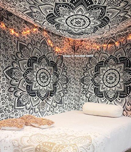 New veröffentlicht Bio Baumwolle Weiß und Schwarz Ombre Betten, Mandala Wandteppich, Queen, Multi Farbe indischen Mandala Wand Kunst Hippie Wandbehang Bohemian wandteppich hippie groß 220 * 210 cms
