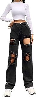 Women Ripped Boyfriends Jeans High Waist Baggy Denim...