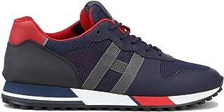 Hogan Scarpe da Uomo H383 HXM3830AN51OCW691K Retro Running Sportive Sneakers in Pelle Blu Rosso Nuove Comode Casual Tempo ...