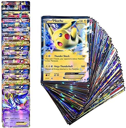YITAO 100Pcs Poke Cards Rare Pokemon Cards TCG Style Holo EX Full Art Poker, Ultra Rare Poke Cards Gift (20 GX+20 Mega+1 Energy+ 59 EXS)