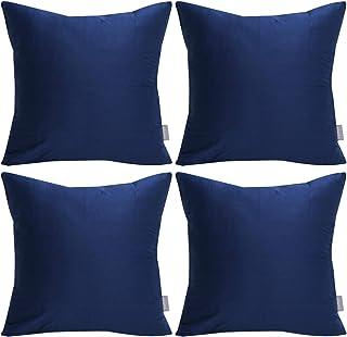 بالش 4 بسته ای 100٪ پنبه ای ، روکش بالش پرتوی تزئینی و جامد روکش کوسن مربعی (فقط روی جلد ، بدون درج) 18x18 اینچ / 45x45 سانتی متر ، آبی نیمه شب