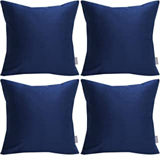 4-Pack Pillowcase 100% Cotton, Comfortable Solid Decorative Throw Pillow Case Square Cushion Cover (Cover Only,No Insert) 18x18 inch/ 45x45cm,Midnight Blue