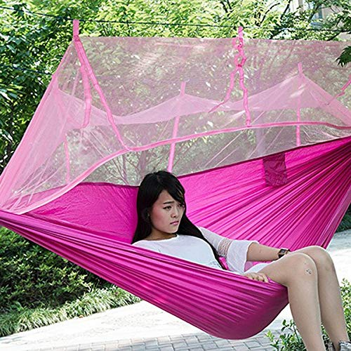 Bureze Handy Hamac Seule Personne Portable Parachute Tissu Moustiquaire Hamac pour intérieur ou extérieur Camping Cadeau Lot